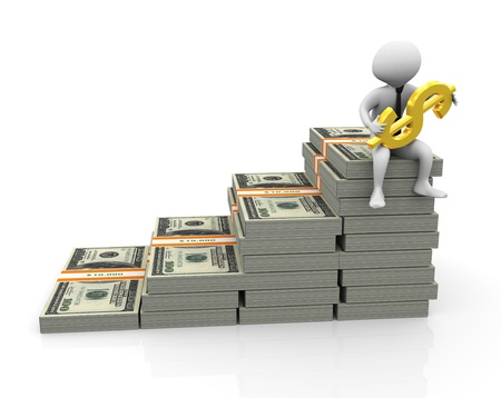 worth: 3d businessman sitting on top of stack of dollar with golden dollar
