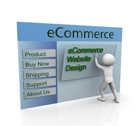 web designing: 3d man building secure ecommerce web site