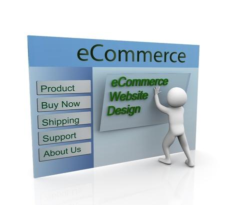 ssl: 3d man building secure ecommerce web site