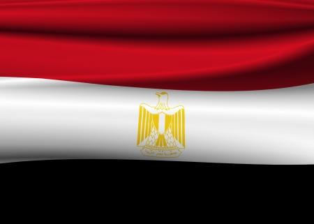 bandera de egipto: Ilustración de la bandera de Egipto ondulado