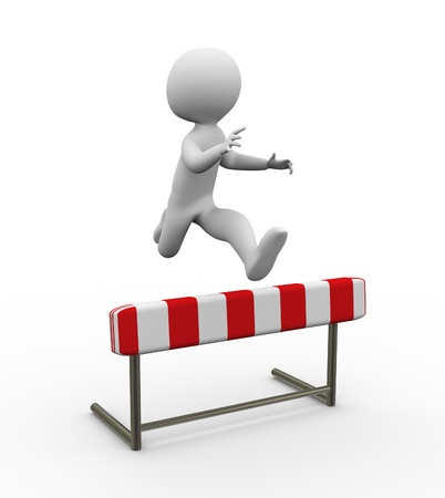 3d man jumping over the hurdle Stock Photo - 10345591