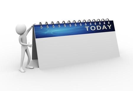 calendario escritorio: hombre 3D con calendario hoy vac�o