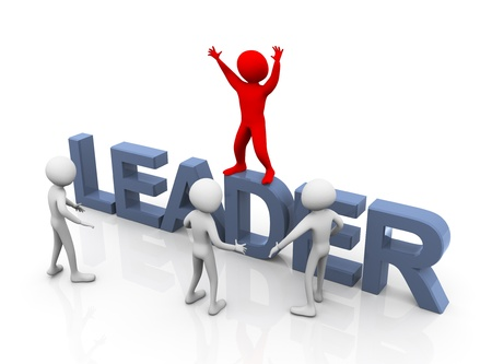leaders: 3d man standing on text