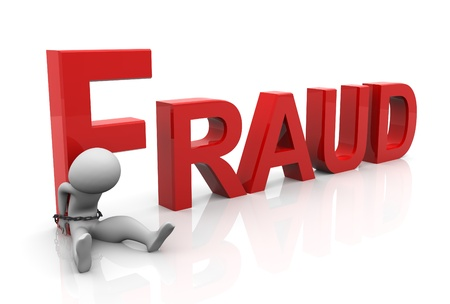 fraud: 3d man tied with text fraudafter committing crime.