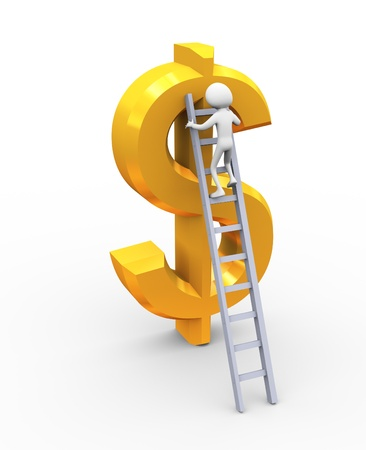 ladder of success: 3d man climbing on golden dollar using ladder