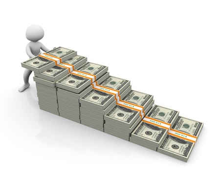 fast money: 3d man putting dollar stack. Concept of making money