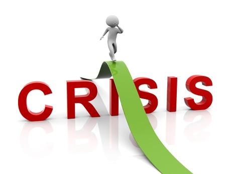 """crisis economica: 3d hombre corriendo sobre la """"crisis"""" del texto. Concepto de resolución de problemas, gestión de crisis, etc"""