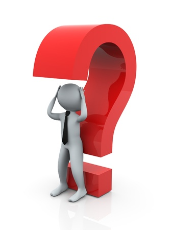 3d puzzled man with question mark Stock Photo - 10387715