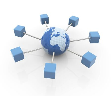 3d render of Concept of networking, database, global communication, internet etc. photo
