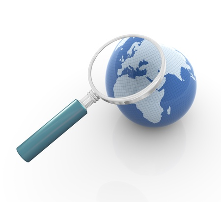 magnified: 3d render of globe and magnifying glass. Concept of global search