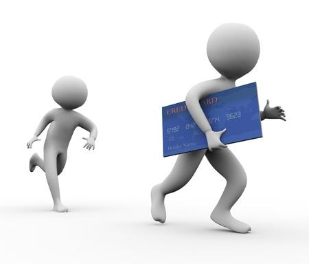 3d man stelen creditcard. Concept van credit card fraude
