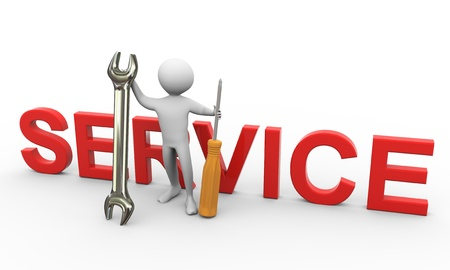 3d man holding screw driver and wrench with service text. Concept of repair and maintenance photo
