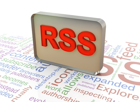 xml: 3d reflective red rss on background of rss wordcloud Stock Photo