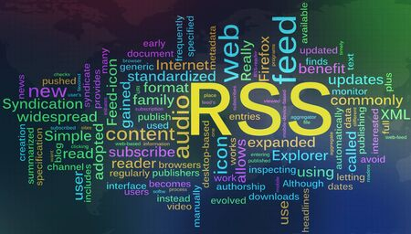 Words in a wordcloud of RSS - Really Simple Syndication Stock Photo - 10345759