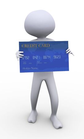 3d man holding bank credit card on white background. photo