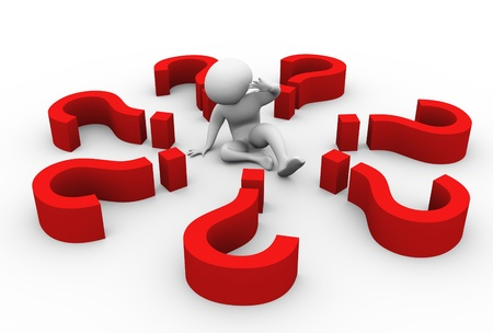 right of way: Confused 3d man encircled with question marks. Stock Photo