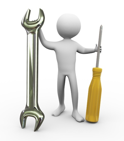 repairer: 3d man holding screw driver and wrench. Concept of repair and maintenance. Stock Photo