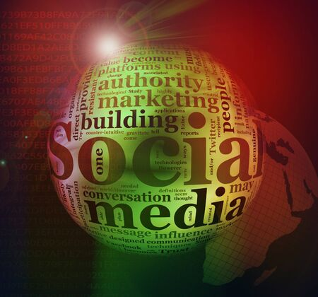 Illustration of social media wordcloud background illustration