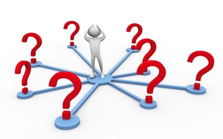 Confuso 3d man nel bel mezzo di punti interrogativi