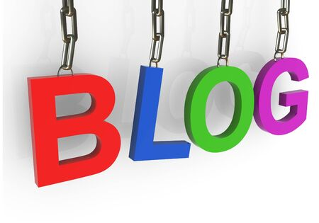 3d render of colorful blog text hanged in chain Stock Photo - 10387732