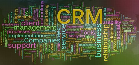 Words in a wordcloud of CRM - Customer relationship management Stock Photo - 10387744