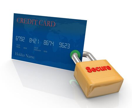 Credit card and padlock. Concept of credit card protection measurement photo