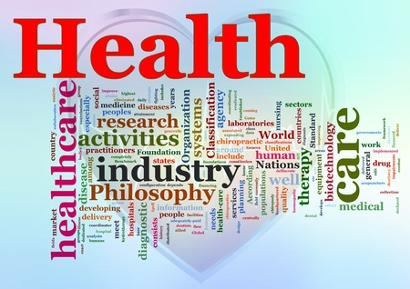 Words in a wordcloud of Healthcare.  photo
