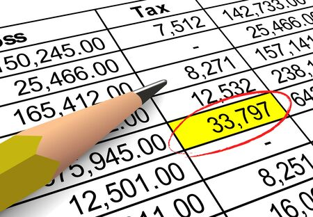 administracion de empresas: Primer plano de las cifras de deducción de impuestos con gran cantidad de relieve y con un círculo.