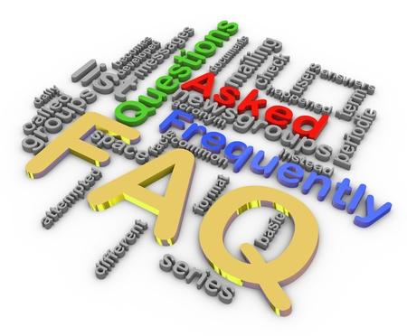 3d render of faq Wordcloud on white backgroud photo