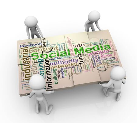 3d men working together for completing puzzle of 'social media wordcloud' Stock Photo - 10402623