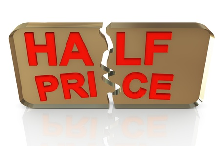 bargain: 3D rendering of a 50 per cent in red letters on a white background