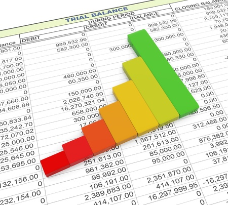 contabilidad financiera cuentas: 3d barras de progreso refleja en el fondo de la hoja de balance de prueba