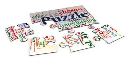 3d puzzle peaces having wordcloud related to word puzzle Stock Photo - 10402597
