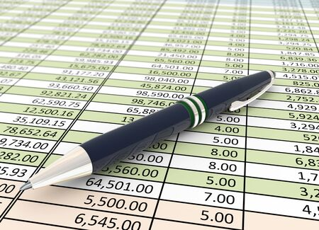 3d pen on the background of financial spreadsheet Stock Photo - 10402656