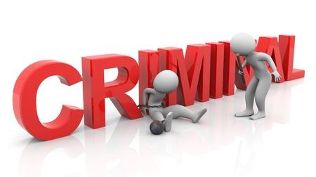 cellule de prison: 3D homme à égalité avec «criminel» du texte lors de l'enquête