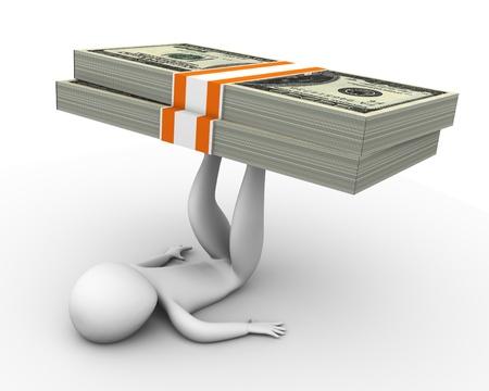 ertrag: 3D-Mann, der Dollar-Pack auf den Beinen