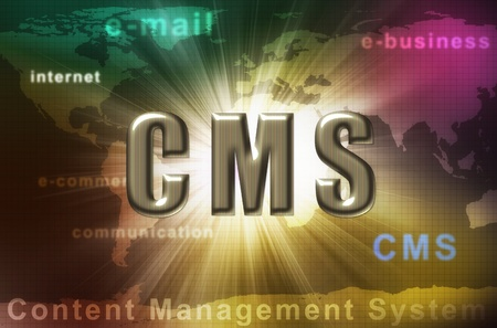 cms: CMS - content management systeem Stockfoto