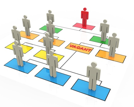 organizational: 3d render of open position in organizational chart Stock Photo