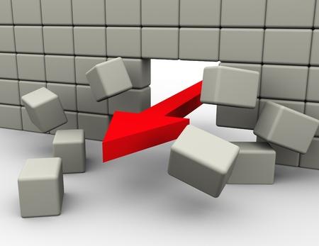 3d render of red arrow breaking wall photo