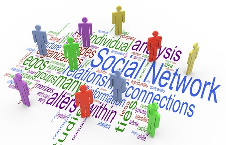 3d render of social network concept on the background of social network wordcloud photo