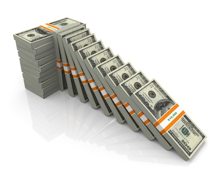 bundles: Concept of supporting falling dollars. 3d render of dollar packs  Stock Photo