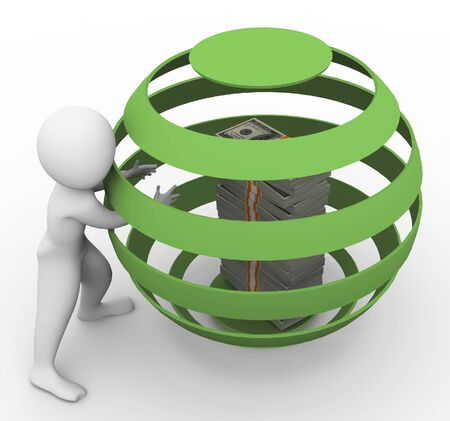 money sphere: 3d man stealing money from caged sphere