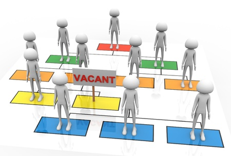 vacant: 3d render of vacant position in the business organization Stock Photo