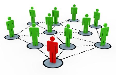 la société: rendu 3D du concept de réseau social