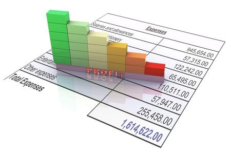 hoja de calculo: 3d barras que muestran disminución en las ganancias debido a los gastos Foto de archivo