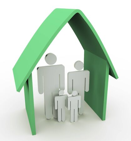 3d family inside home on the white background Stock Photo - 10402427