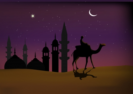 camel: Man riding on camel on the background of beautiful arabic night  Stock Photo