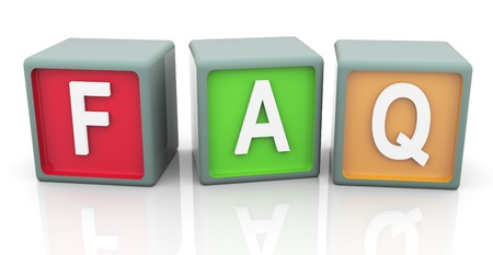 3d render of reflective colorful text faq photo