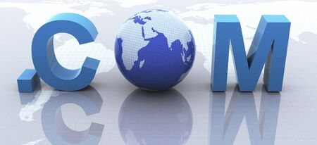 3d render of text .com with globe Stock Photo - 10402537
