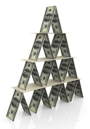 bundles: 3d render of pyramid made up of dollar note